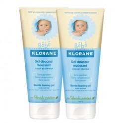 Klorane Gel Douceur Moussant- Bebekler için Temizleme Jeli 2x200ml
