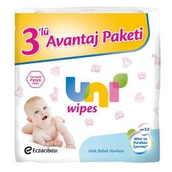 Uni Baby Islak Bebek Havlusu 3lü Avantaj Paketi 3 x 64 Adet
